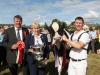 Kevin Wheelan, judge of the Baileys Cow; Heather Humphreys Minister for Regional Development, Rural Affairs, Arts and the Gaeltacht and Philip Jones from Gorey, Co Wexford with 'Twizzle' who took the top prize and is the Baileys Cow 2016 at Virginia Show . Photo: Adrian Donohoe.
