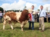 North East Calf Champion winner Paul McArdle (Castleblaney) with judge John Moore