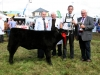 Angus Heifer winner John Dockery (Offaly) receiving the new Adam Edgar cup from Winston Edgar with judge Thomas F Beirne and steward Patrick Logan