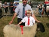 Alex Windrum (Castleblaney) with the winning Unregistered Suffolk Ewe with judge Mervyn Joyce