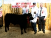 Reserve Champion Angus winner Finbar Cahill (Cavan) with judges Thomas F Beirne and Patrick Beirne
