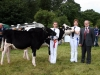 (front) Pamela Allen (Ballybay) reserve 16+ Diary Young Handler with winner Andrea Rafferty (Ballybay) and judge Mark Logan