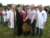 Champion Pedigree winner was Eamonn Duffy (Kells) receiving the Patrick Keogan Cup from Kathleen Keogan with steward Jim Farrelly (left) judges Norbert Coyle and Declan Mangan and steward Colm Brady (right)