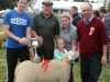 Cross-Bred Champion was won by Matt Connell (granard) receiving the Hugh Faulkner Cup from Daniel Faulkner with Cloe and Laura and judge Martin Joyce (Galway)